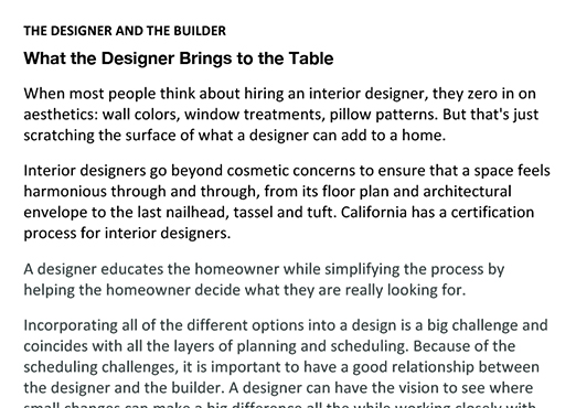The Designer and The Builder