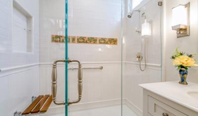 residential remodel white shower SF CA